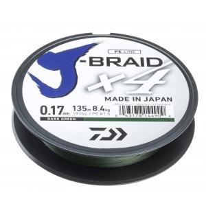 Daiwa Pletená šňůra J-Braid 4 - tmavě zelená 135m