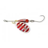 Bullet třpytka s jednoháčkem - silver s červenými proužky č.3 7g